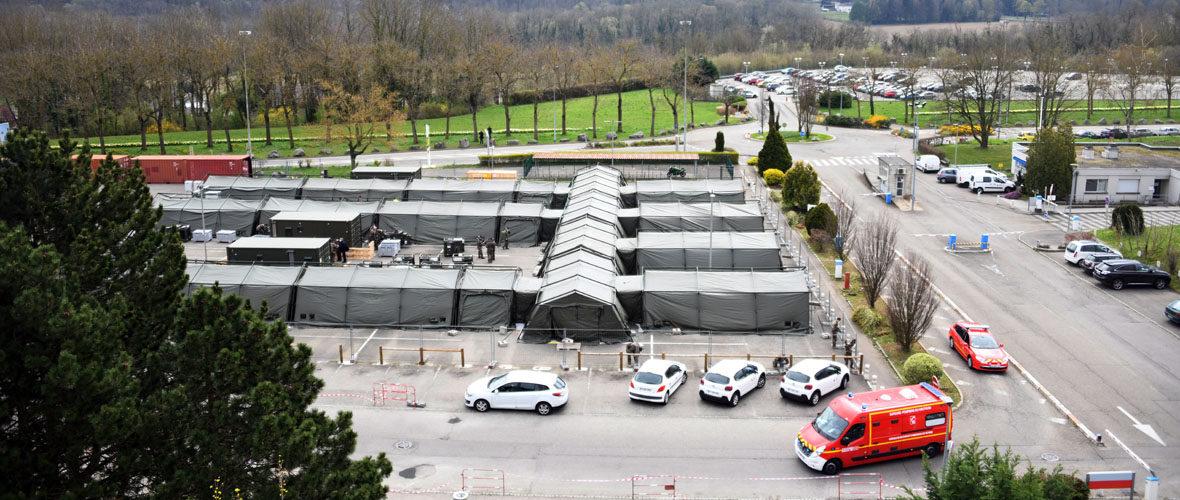 Coronavirus : l'hôpital de campagne en cours de déploiement à Mulhouse   M+ Mulhouse
